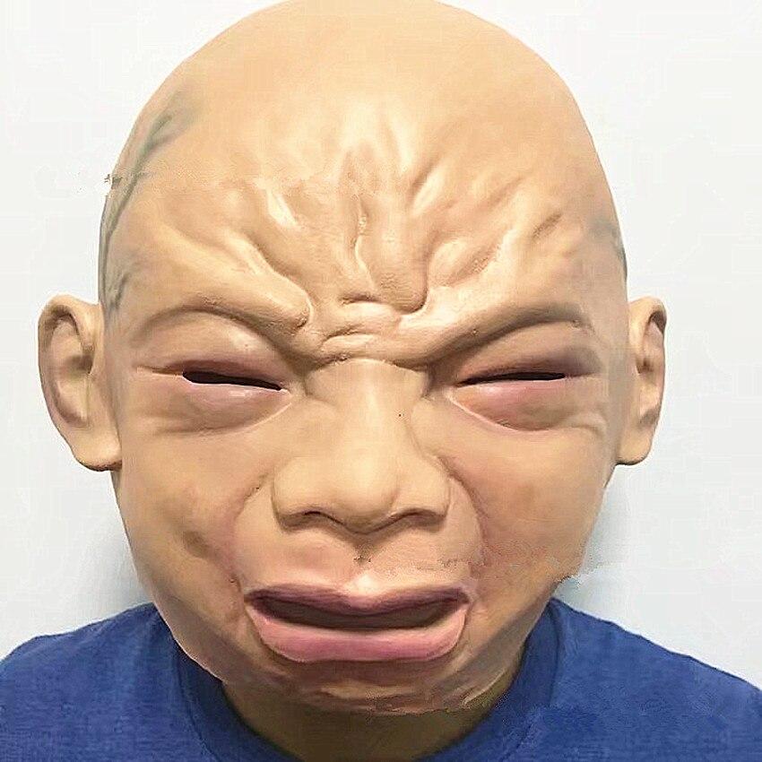 Плач ребенка маски приколами игрушки для взрослых латекса маски полный головы дышащая Хэллоуин Страшные Косплэй реквизит ...