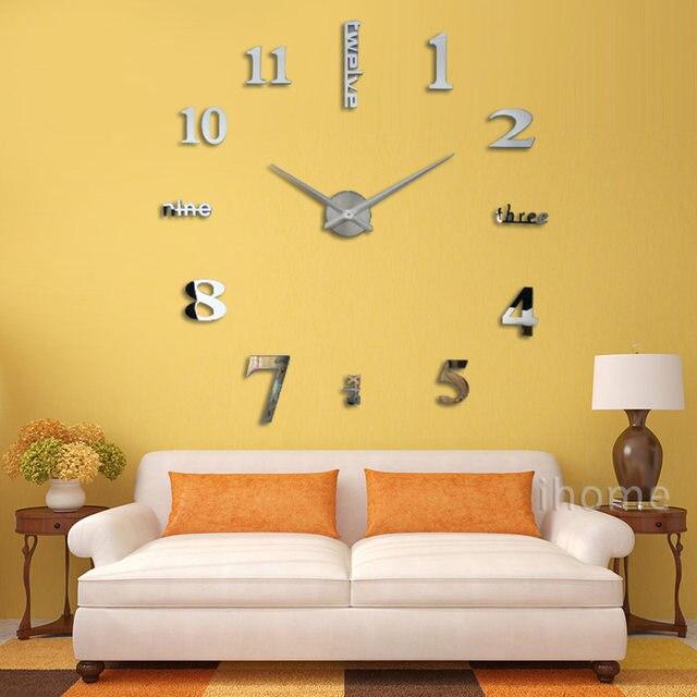 Online Shop 3D Large Sticker Decorative Wall Clocks Living Room ...