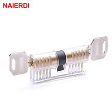 NAIERDI Transparent Locksmith Locks Cutaway Training Skill Professional Visible Practice Padlock Copper Lock Pick Tools Hardware