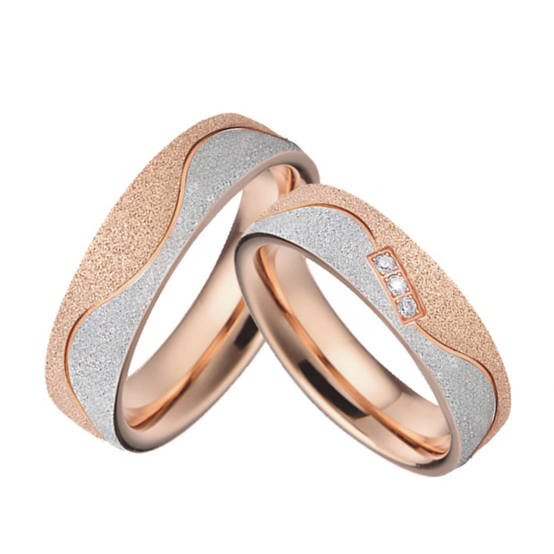 Rose Gold Plating Emery Alliance wedding band engagment rings for women Anniversary Jewelry love couple ring men