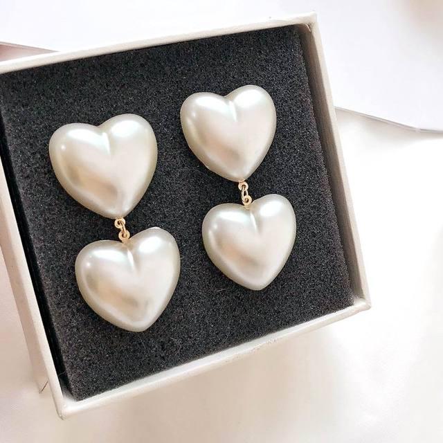 Корейские Двойные серьги в форме сердца, висячие серьги для женщин, новые модные ювелирные изделия Bijoux