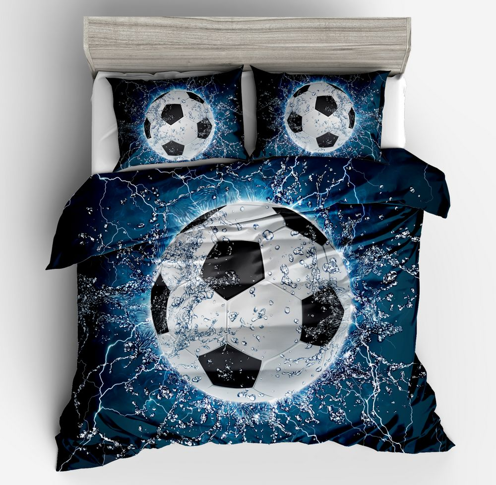 Hot Sale !Football 3D Bedding Sets with white blue black Duvet/quilt Cover Pillow Case Twin full Queen king size Home textileHot Sale !Football 3D Bedding Sets with white blue black Duvet/quilt Cover Pillow Case Twin full Queen king size Home textile