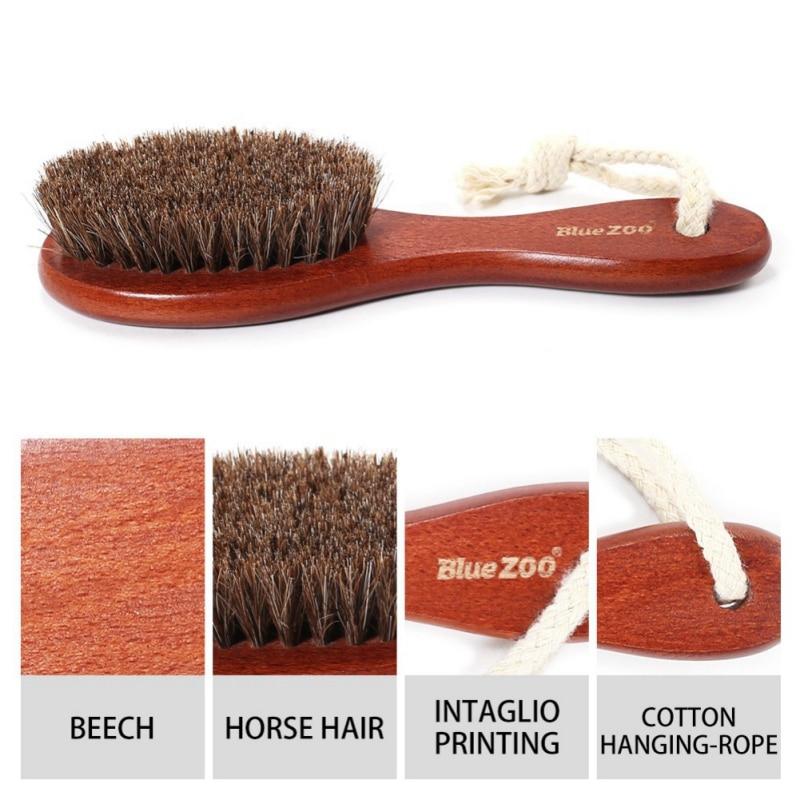 2 Color 100% Natural Horse Hair brush Hairdressing Hair Comb Beard Comb Swine Mane Airbag Wucalyptus Oil Wood