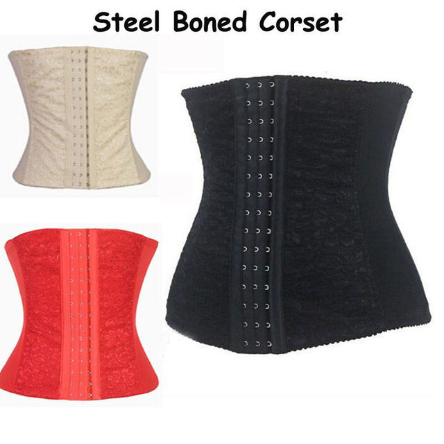 New Black 4 Steel Bone Underbust Corset Waist Bustier Lace waist cincher Lace Shapers Belt Body Shaperwear Plus Size