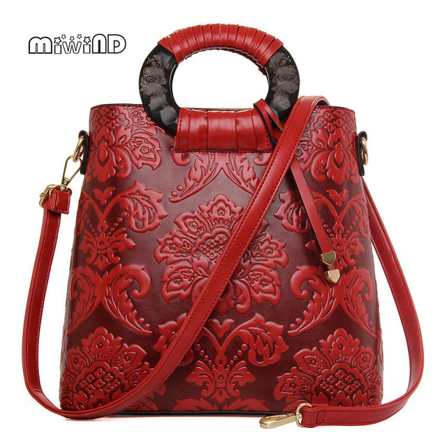 MIWIND Chinese Style Bucket Bag High-guality Women Leather Handbags Women Messenger Bags Luxury Handbags Women Bags Designer