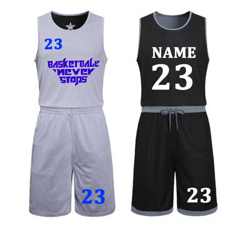 DIY basketball jerseys Set Uniforms kits Child Men Reversible Basketball shirts shorts suit Sports clothes Double-side Sportswea