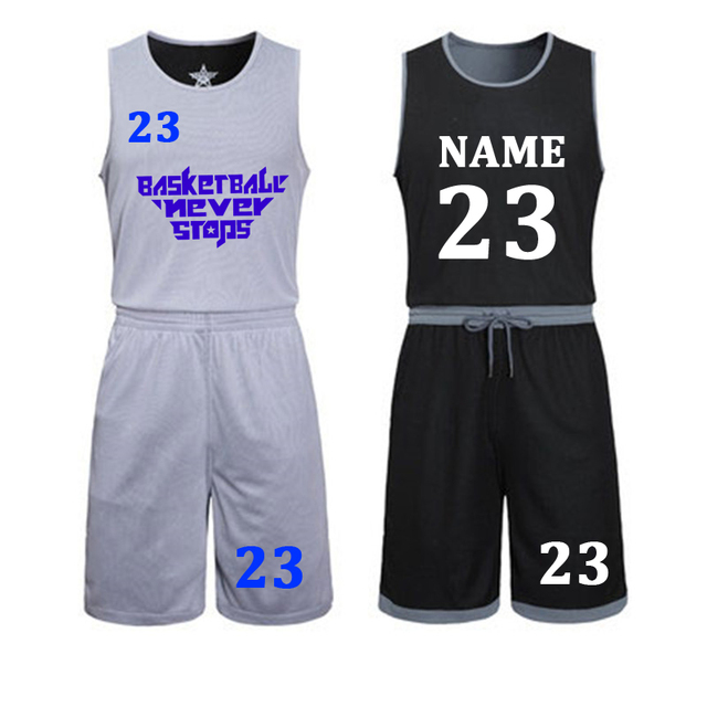 8f4e04cb3d03 DIY basketball jerseys Set Uniforms kits Child Men Reversible Basketball  shirts shorts suit Sports clothes Double