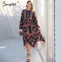 Simplee Floral Print Irregular Boho Women Dress Long Sleeve High Waist Maxi Dress 2018 Spring Streetwear