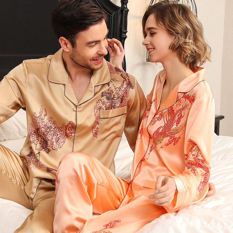 Real Silk Pajama Female Long-Sleeve Silkworm Silk Couple Marry High Quality Printed SILK Sleepwear Male Two-Piece Sets T8196QL