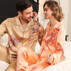 Real Silk Pajama Female Long-Sleeve Silkworm Silk Couple Marry High Quality Printed SILK Sleepwear Male Two-Piece Sets T8196QL