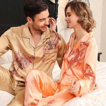 Real Silk Pajama Female Long-Sleeve Silkworm Couple Marry High Quality Printed SILK Sleepwear Male Two-Piece Sets T8196QL