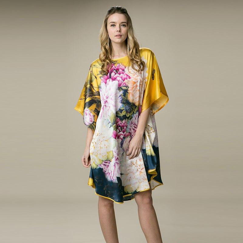 100% soie Satin robe en soie naturelle femmes robe nouveau Desigual confortable lâche Style doré pivoine Floral motif imprimé robe