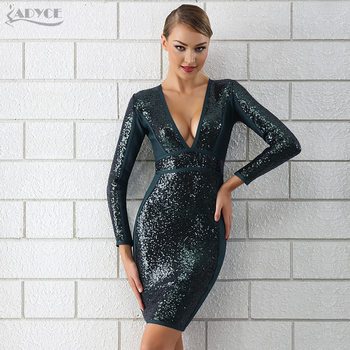 Deep V Neck Sequin Dress Long Sleeve Bodycon Clubwears Celebrity Evening Party Dress