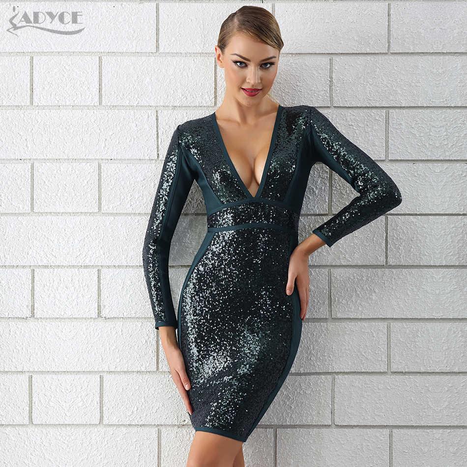 Adyce 2019 חורף יוקרה נצנצים תחבושת שמלת נשים סקסי עמוק V צוואר ארוך שרוול Bodycon Clubwears סלבריטאים ערב המפלגה שמלה