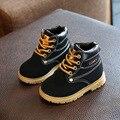 2017 de primavera y otoño los niños y niñas botas de tendón inferior zapatos calientes de la felpa de cuero inferior suave de terciopelo Martin botas a prueba de agua ki