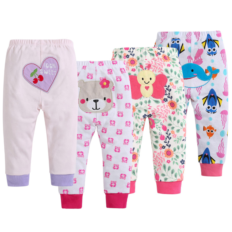 0-36M 4 Pieces Baby Trousers Kid Wear Baby Pants Cartoon Baby Boy Clothes Infant Toddlers Girl Cartoon Cotton PP Pants MKBCPT001 touchcare newborn rib knit baby tights kid dancing pantyhose infant cotton pp pants cotton solid baby girl clothes