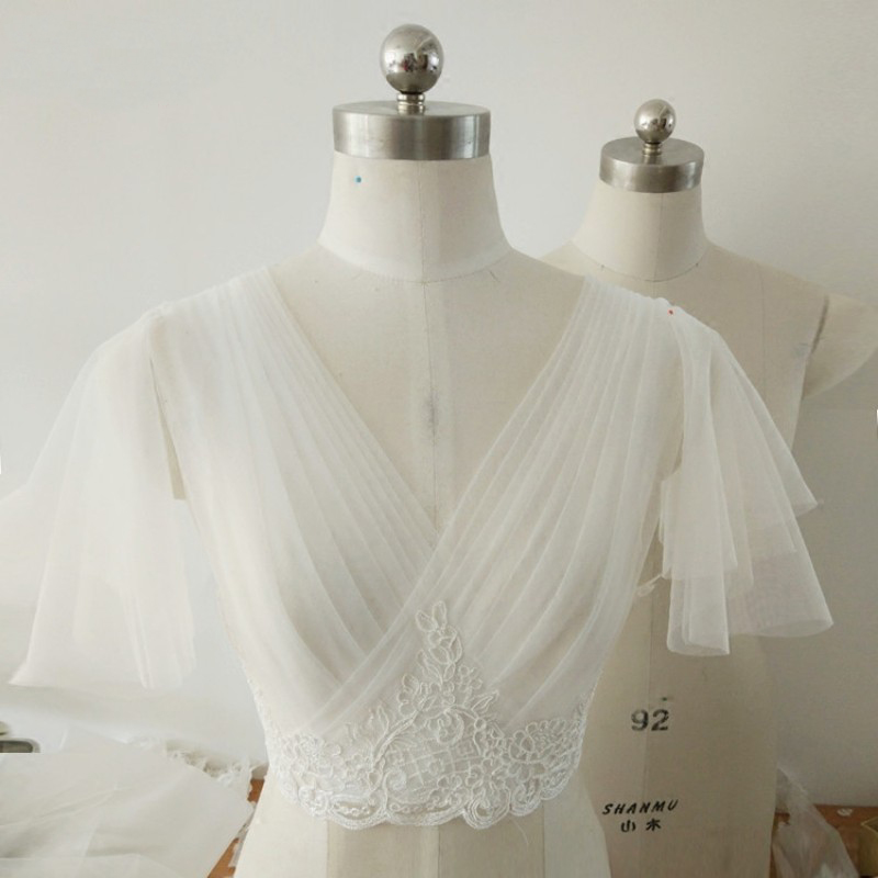 Short Sleeves Wedding Jacket V-neck Pleated Tulle Bridal Bolero Jackets For Bridal Party Coat Appliques Bridal Jacket