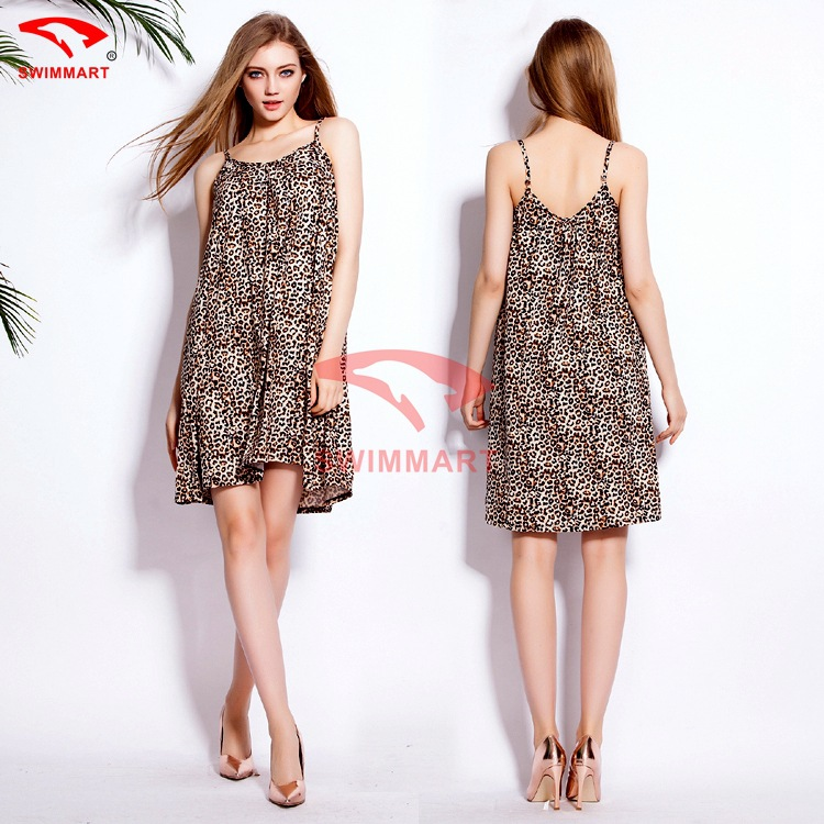 2015 EBAY Best Selling Loose Pattern Leopard Dress Women A Line Sleeveless  Spaghetti Strap Casual Girls Summer Dress Free Size-in Dresses from Women s  ... 151c9809a752