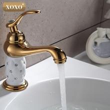 XOXO Ванная комната бассейна золотой кран, латунь с бриллиантом/кристалл корпус кран Одной ручкой кран горячей и холодной воды 50015GT