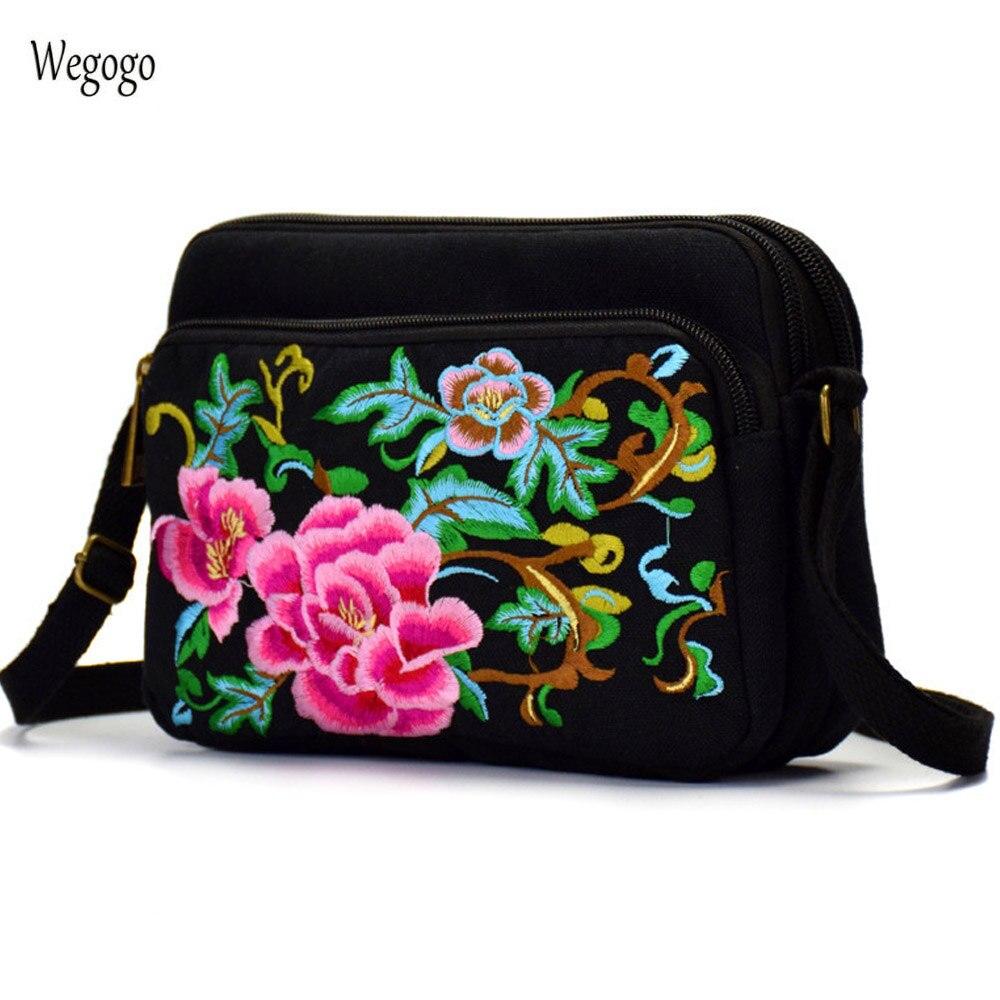 все цены на 2018 New Embroidery Bag Floral Crossbody Totes Canvas Three Zipper Travel Beach Phone Coin Bags Black Shoulder Messenger Bag