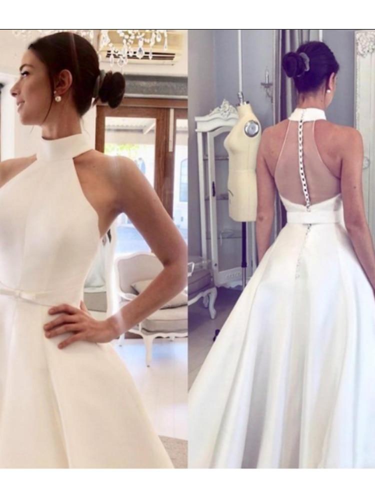 Cheap Elegant Wedding Dress Plus Size Satin A-line Wedding Dresses 2019 Halter Bridal Gown Vestido De Novia