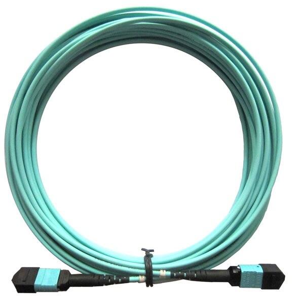 MPO female - MPO female patch cord lszh 3.0mm jacket, OM3 50/125um fiber, 12 cores, 3m Type A