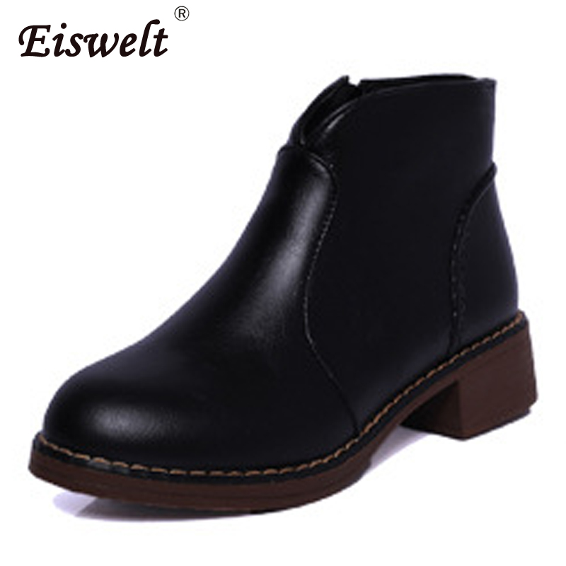 EISWELT Women Leather Black Brown Boots Fashion Zipper Ankle Boots Platform Heels Shoes Female Autumn Winter Flock Boots#ZQS121 eiswelt women zip ankle boots heels women soft leather platform shoes female wedges shoes zqs185
