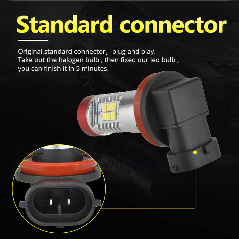 NAO H11 LED Car fog Light H10 H8 led bulbs h16 5202 9005 1200lm 12V hb4 hb3 auto 9006 h9 white Driving Running Light lamp 6000K