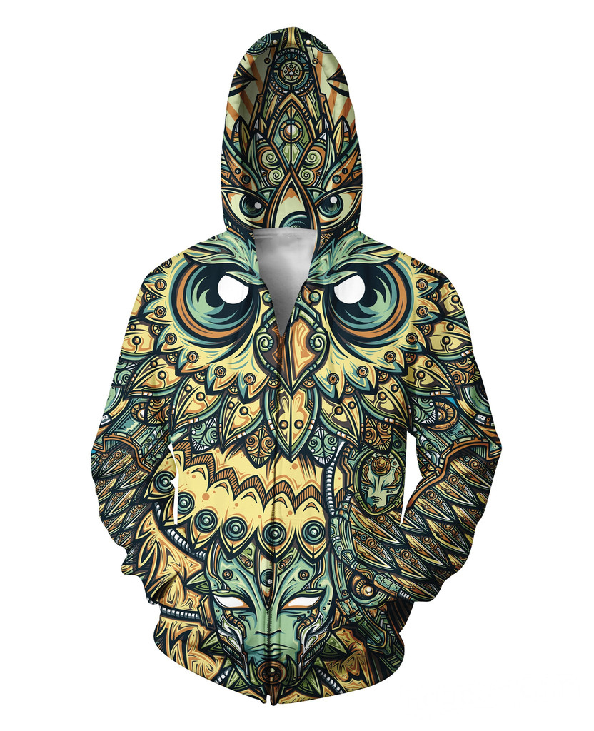 2017 New Fashion Bomber Jacket Women Coat 3D print Owl Sun Flower Big Face Hooded Zipper Side With Pocket Chaquetas Mujer S-2XL