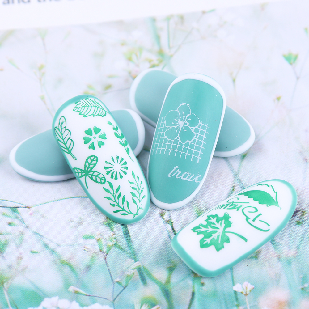 Image 4 - 1pcs Nail Stamping Plates Painting Image Stencils For Nails Florals Feather Leaf Butterfly Geometric Template Design LASTZN01 12-in Nail Art Templates from Beauty & Health
