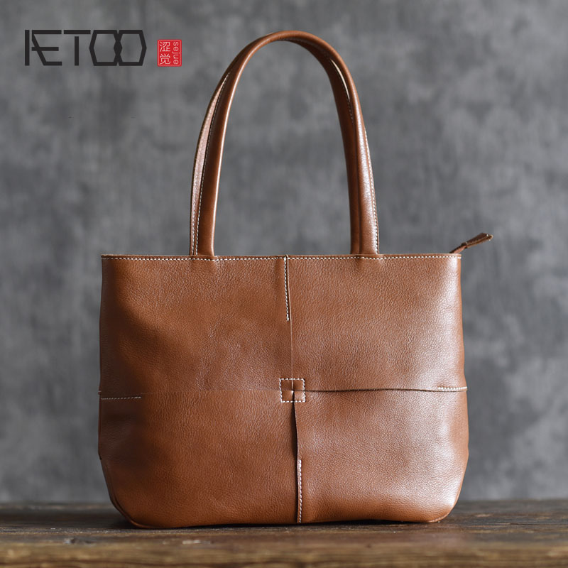 AETOO Original designer first layer cowhide handbag temperament shoulder bag simple new handmade bag