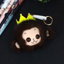 2017 new fur grass crown monkey key chain bag pendant mink fur animal form neutral bag key holder female jewelry