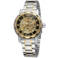Mens Watches Gold Transparent Watch Top Brand Luxury Relogio Male Clock Men Casual Watch Mechanical Skeleton