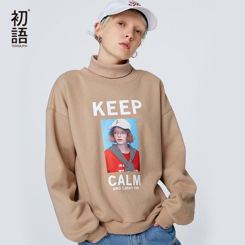 Toyouth Women Short Hoodies Turtleneck Sweatshirts Pullovers Autumn Letters Outwear Long Sleeve  Casual Loose Korean Style Tops