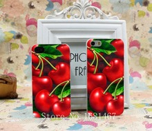 Green cherry fruit of food cherry animation Hard Clear Skin Case Cover for iPhone 4 4s