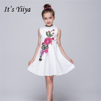 It's YiiYa Sleeveless White Blue O-Neck Bow Lace Sashes Simple Pattern Kids Princess Flower Girls Dress Communion TS102