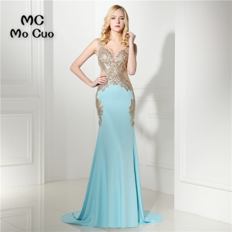 vestido de festa longo 2017 Mermaid   Prom     Dresses   Appliques Crystals Custom Made Chiffon Evening Gowns Formal Party   Dresses