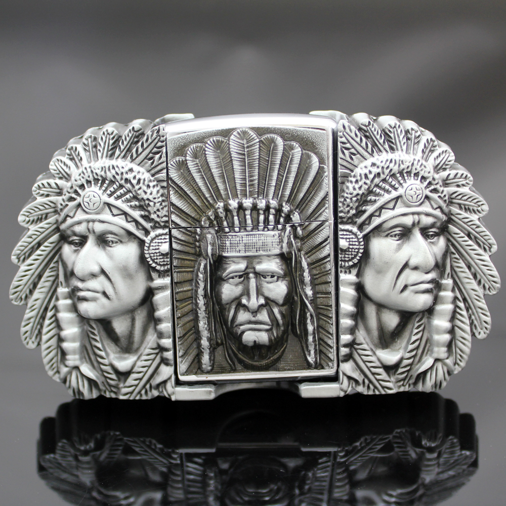 Men Silver Native American 3D Indian Chief Feather Navajo Removable