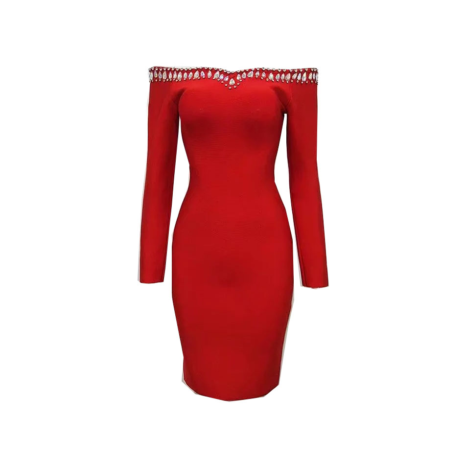 2017 Ladies Fashion Sexy Autumn Long Sleeves Off the Shoulder Beading Bandage Knitted Dress Bodycon Party Knee-Length Dress wholesale 2016 new elastic knitted ladies fashion blue beading bandage strap crop top