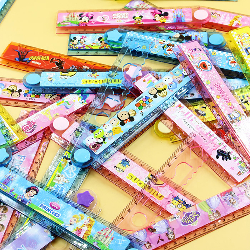 6 Pcs / Lot Pupil Study Stationery Painting Plastic Ruler Children Cute Variety Of Cartoon Pattern Scale Folding Ruler 30CM