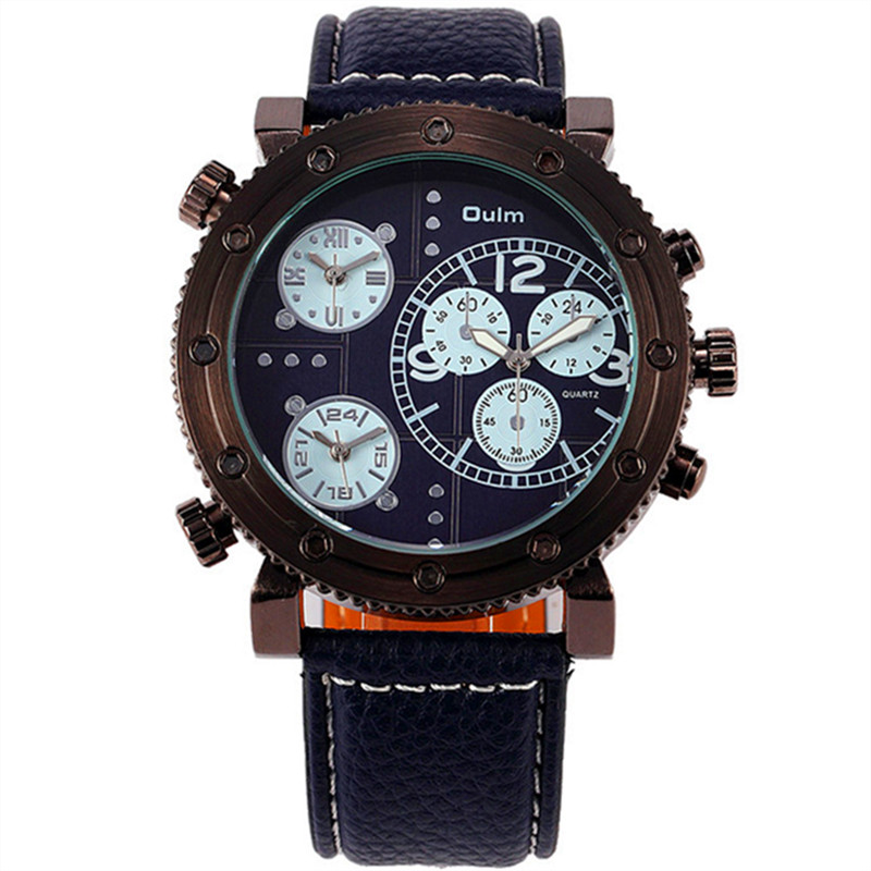 Male Hot Luxury Brand Oulm Tag Watches Mens Leather B