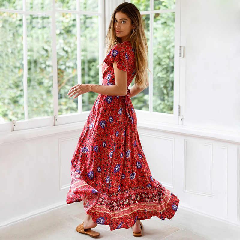 5384a69b1a0bf Vintage Chic Floral Long Summer Boho Dress Wrap Bohemian Beach Dress Sexy V  Neck Maxi Dresses for Women Vestidos Robe Femme
