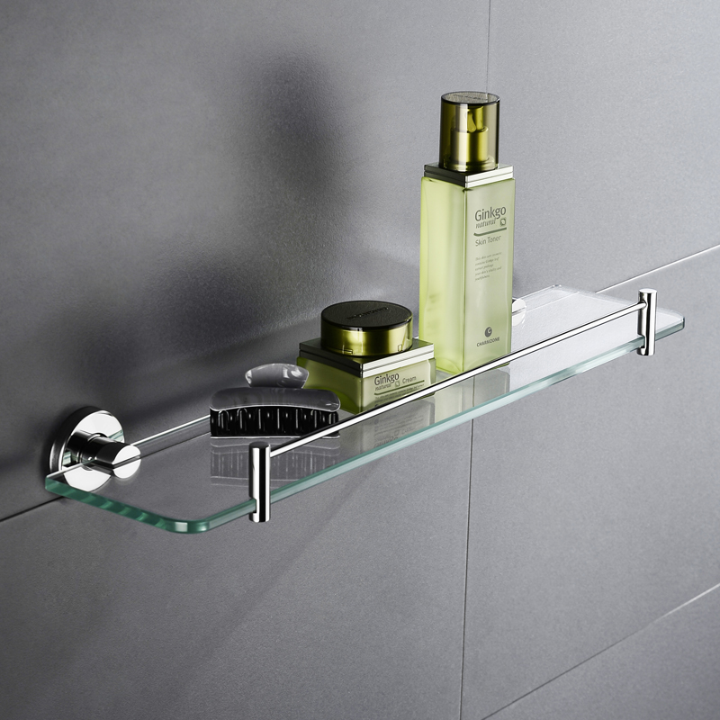 High Quality Glass Shelf Bathroom Kitchen Shelf Single Tier Wall Mount Shower Caddy Bath Basket <font><b>SUS</b></font> <font><b>304</b></font> Stainless Steel image