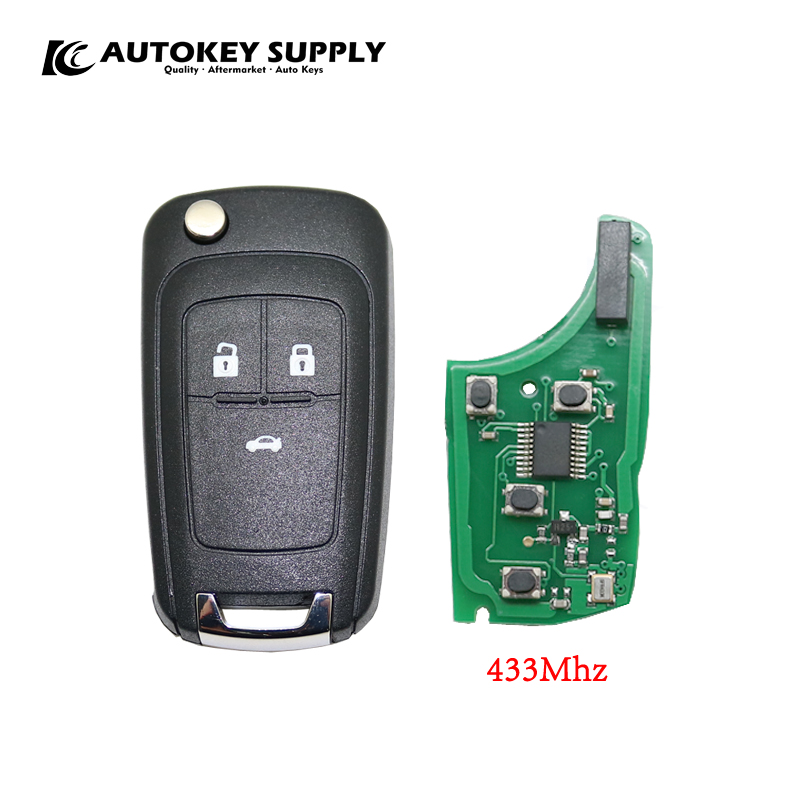 Car styling Flip key Modified For Chevrolet 3 buttons remote key 433Mhz AKGMC406