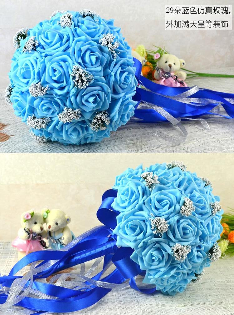 Poročni šopek PRETTY Foam rose v modrih nevestinih - Prazniki in zabave - Fotografija 2