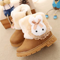 Children's Rubber Boots Red Brown Khaki Mid-calf Rabbit Plush Warm Boys Girls  Boots Waterproof High Quality Shoes Kids Boot
