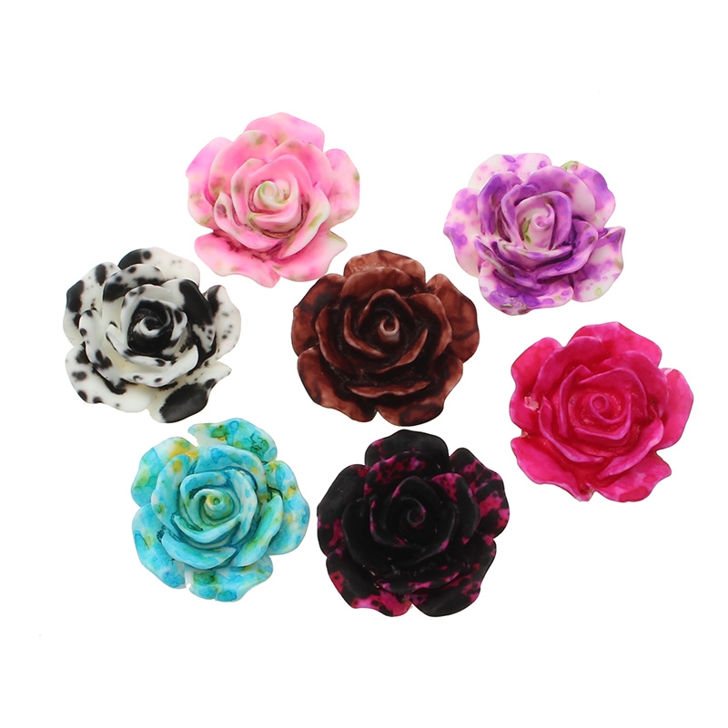 50Pcs 19x18mm Resin Rose Flower Decoration Crafts Flatback Cabochon Beads Embellishments For Scrapbooking DIY Accessories