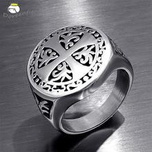 Винтаж Титан панк Рок христианская религия крест кольцо 316L нержавеющая сталь для мужчин отец ювелирные изделия подарок Размеры 7 8 9 10 11 12 13 14