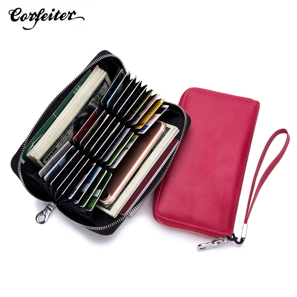 Corfeiter Brand Vintage Leather RFID Men Long Wallets Fashion Women Zipper Organizer Wallets Card Holder Travel Passport Purse35