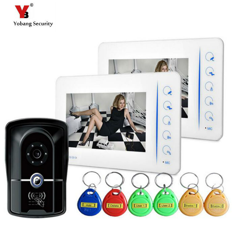 Yobang Security Touch Key Video intercom with Electric lock-control function Doorphone Camera and Monitor with Rainproof camera